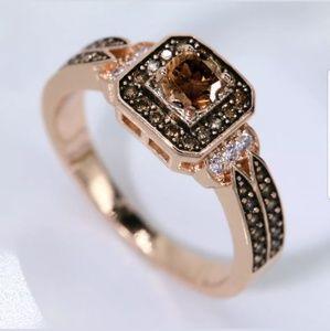 💋 18K Rose Gold Chocolate Halo Cushion CZ Ring